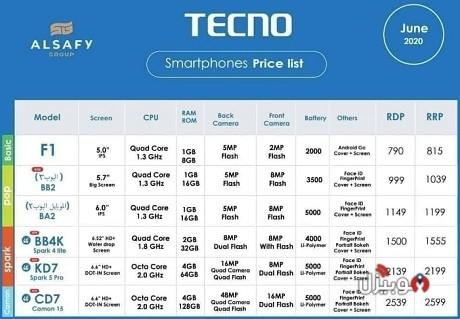 اسعار موبايلات تكنو